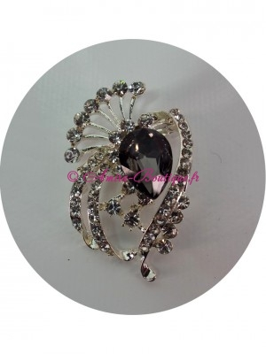 Broche strass noir